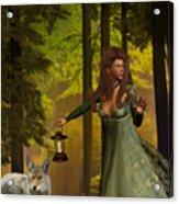 The Princess And The Wolf Acrylic Print by Emma Alvarez