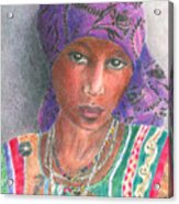 The Purple Scarf  Acrylic Print by Arline Wagner