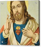 The Sacred Heart Acrylic Print by French School
