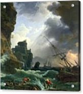 The Storm Acrylic Print by Claude Joseph Vernet