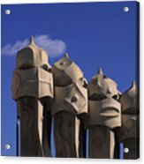 The Strangely Shaped Rooftop Chimneys Acrylic Print by Taylor S. Kennedy
