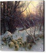 The Sun Had Closed The Winter Day Acrylic Print by Joseph Farquharson