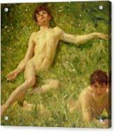 The Sunbathers Acrylic Print by Henry Scott Tuke