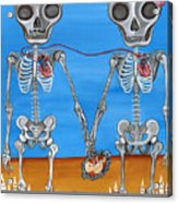 The Two Skeletons Acrylic Print by Jaz Higgins