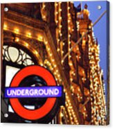 The Underground And Harrods At Night Acrylic Print by Heidi Hermes