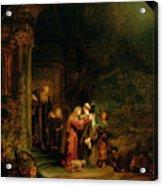 The Visitation Acrylic Print by  Rembrandt Harmensz van Rijn