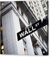 The Wall Street Street Sign Acrylic Print by Justin Guariglia