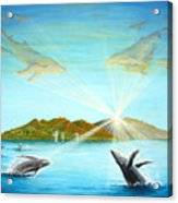 The Whales Of Maui Acrylic Print by Jerome Stumphauzer