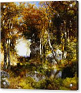 The Woodland Pool Acrylic Print by Thomas Moran