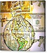 The World Is Money Acrylic Print by Paulo Zerbato