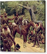 They Talked It Over With Me Sitting On The Horse Acrylic Print by Howard Pyle