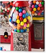 Three Bubble Gum Machines Acrylic Print by Garry Gay