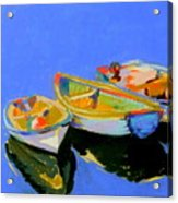 Three Colourful Boats Acrylic Print by Sue Gardner