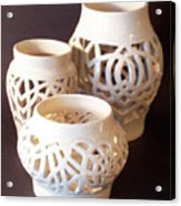 Three Interlaced Design Wheel Thrown Pots Acrylic Print by Carolyn Coffey Wallace