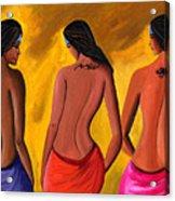 Three Women With Tattoos Acrylic Print by Sweta Prasad