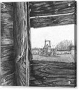 Through The Barn Acrylic Print by Dean Herbert