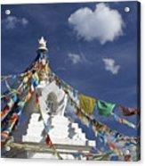 Tibetan Stupa With Prayer Flags Acrylic Print by Michele Burgess