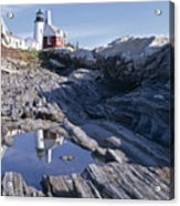 Tide Pool Reflection Pemaquid Point Lighthouse Maine Acrylic Print by George Oze
