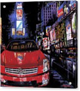 Times Square ....cadillac Acrylic Print by Mike Hill