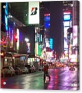 Times Square In The Rain 2 Acrylic Print by Anita Burgermeister