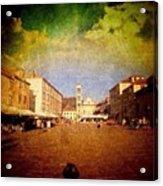 Town Square #edit - #hvar, #croatia Acrylic Print by Alan Khalfin