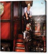 Train - Yard - Receiving A Telegram  Acrylic Print by Mike Savad