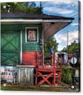 Train - Yard - The Train Station Acrylic Print by Mike Savad