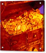 Treasure Chest With Gold Coins Acrylic Print by Garry Gay