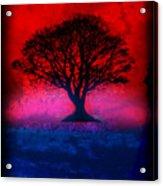 Tree Of Life - Red Sky Acrylic Print by Robert R Splashy Art
