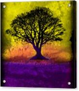 Tree Of Life - Yellow Sunburst Sky Acrylic Print by Robert R Splashy Art