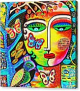 Tree Of Life Paradise Goddess Acrylic Print by Sandra Silberzweig
