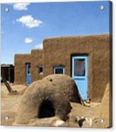 Tres Casitas Taos Pueblo Acrylic Print by Kurt Van Wagner