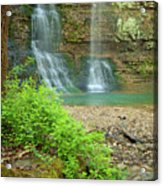Tripple Falls In Springtime Acrylic Print by Iris Greenwell
