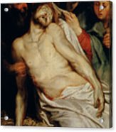 Triptych Of Christ On The Straw Acrylic Print by Rubens