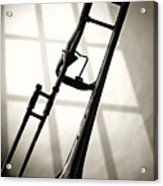 Trombone Silhouette And Window Acrylic Print by M K  Miller