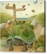 Turtle And Rabbit01 Acrylic Print by Kestutis Kasparavicius