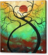 Twisting Love II Original Painting By Madart Acrylic Print by Megan Duncanson