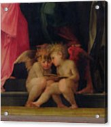 Two Cherubs Reading Detail From Madonna And Child With Saints Acrylic Print by Giovanni Battist Rosso Fiorentino