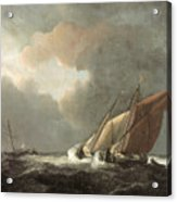 Two Dutch Vessels Close-hauled In A Strong Breeze Acrylic Print by Willem van de Velde the Younger