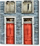 Two Red Doors Acrylic Print by Mel Steinhauer