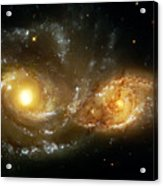 Two Spiral Galaxies Acrylic Print by The  Vault - Jennifer Rondinelli Reilly