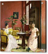 Two Women Reading In An Interior  Acrylic Print by Jean Georges Ferry