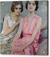 Two Young Women Seated Acrylic Print by William Henry Margetson