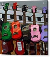 Ukeleles For Sale Acrylic Print by Suzanne Gaff