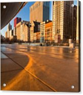 Under The Bean And Chicago Skyline At Sunrise Acrylic Print by Sven Brogren