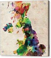 United Kingdom Watercolor Map Acrylic Print by Michael Tompsett