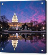 United States Capitol Building Christmas Tree Reflections Acrylic Print by Mark VanDyke