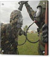 U.s. Air Force Soldier Decontaminates Acrylic Print by Stocktrek Images