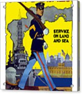 U.s. Marines - Service On Land And Sea Acrylic Print by War Is Hell Store