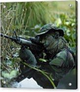 U.s. Navy Seal Crosses Through A Stream Acrylic Print by Tom Weber